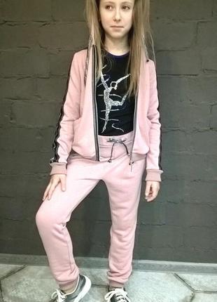 Модный спортивный костюм для девочки розовый