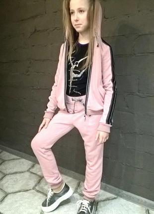 Модный спортивный костюм для девочки розовый2 фото