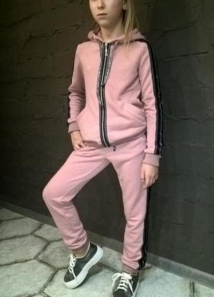 Модный спортивный костюм для девочки розовый4 фото