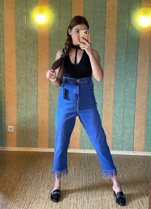 Крутые джинсы с бахромой new look