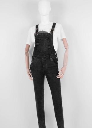 Стильный женский джинсовый комбинезон штанами брюками графитовый варёнка зауженный