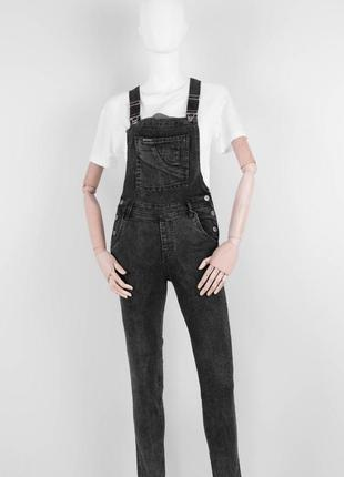 Стильный женский джинсовый комбинезон штанами брюками варёнка графитовый зауженный