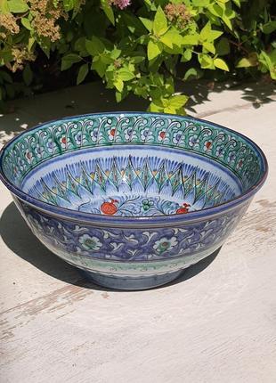 Узбекская керамическая большая пиала супница 600 ml ручная роспись (3)