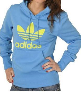 Толстовка adidas голубого цвета