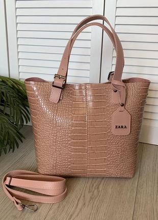 Женская большая сумка,рептилия, помещается формат а4