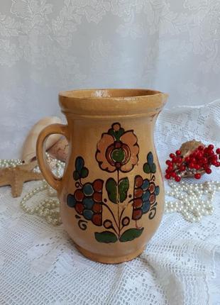 Кувшин керамика майолика ручная роспись опишнянская керамика начало хх века