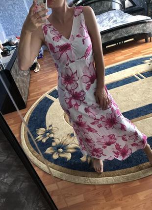 100% лён шикарное льняное платье миди в цветы /сарафан макси льон / лляне плаття hobbs