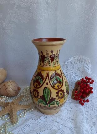Ваза глечик керамика глина майолика опишня ручная роспись обжиг глазурь