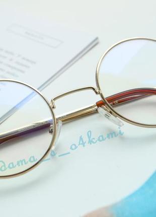 Стильные круглые очки с компьютерными линзами, новые, стекло.