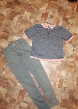 Стильный набор джинсы скинны и футболка