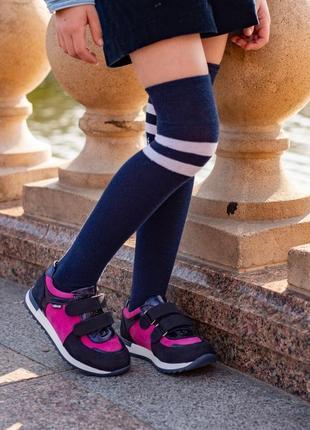 Яркие кожаные кроссовки для девочки leo 108886