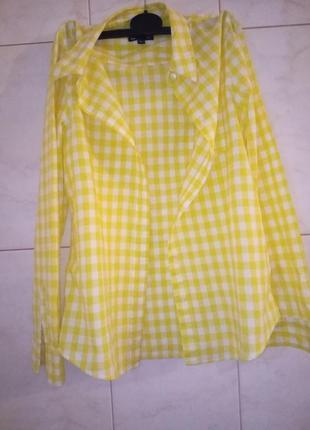 Клетчатая желтая рубашка
