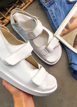 Белые сандалии натуральная кожа
