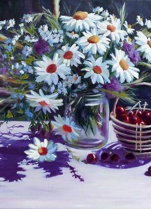Картина маслом живопись цветы ромашки