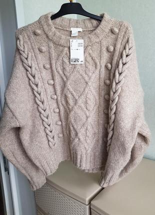 Новый короткий свитер укороченный джемпер оверсайз крупная вязка косы шнуры h&m m