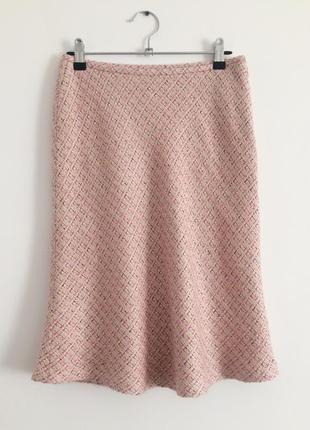 Классическая розовая юбка в мелкую клетку