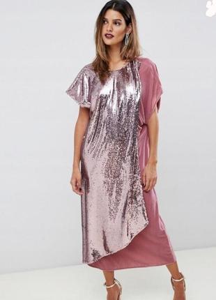 Вельветовое вечернее платье asos в пайетки