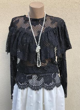 Винтаж,чёрная,кружевная,гепюровая блуза,рюши,воланы,