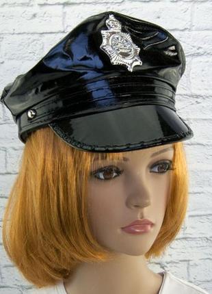 Кепка лаковая фуражка маскарадная полицейская полицейский