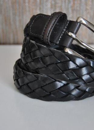 Кожаный брендовый ремень anderson's /плетеный ремень италия /шкіряний ремінь