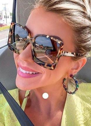 Качественные солнцезащитные очки большие квадратные роговые леопардовые ретро окуляри