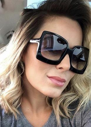 Качественные квадратные солнцезащитные очки большие ретро черные окуляри