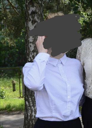 Рубашка блуза белая в горох