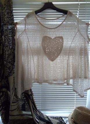 Блузка туника бохо с сердцем из пайеток