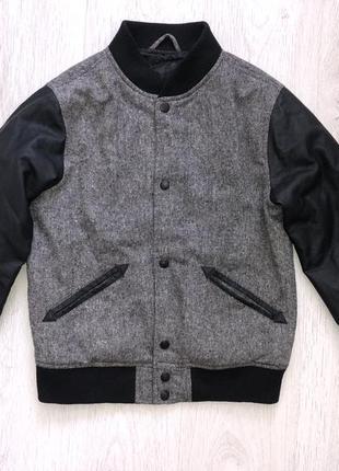 Бомбер, куртка демисезонная с кожаными рукавами унисекс