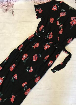 Платье миди на запах под пояс цветы цветастое шикарное вискоза от primark1 фото