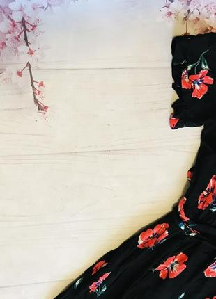 Платье миди на запах под пояс цветы цветастое шикарное вискоза от primark2 фото