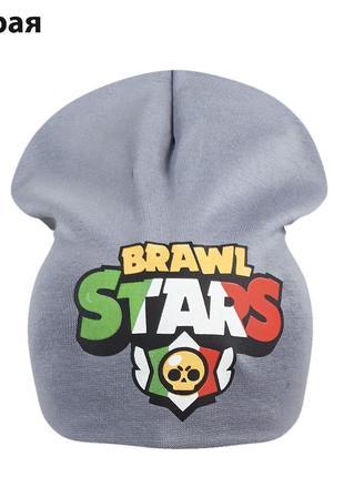Двойная трикотажная шапка brawl stars 52-56см