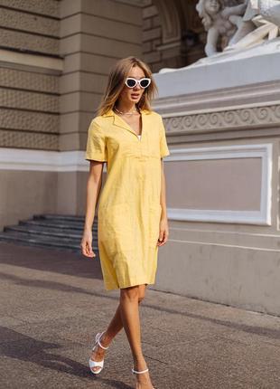 Платье летнее льняное, цвет желтый