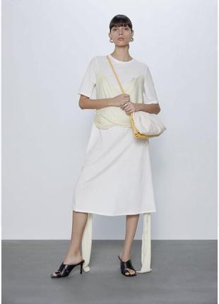 Стильное белое платье футболка миди с бантом zara зара