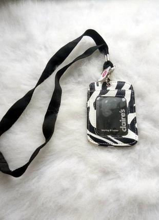 Кожаный кардхолдер чехол для карт айди паспорта на ленте шнурке черный белый зебра
