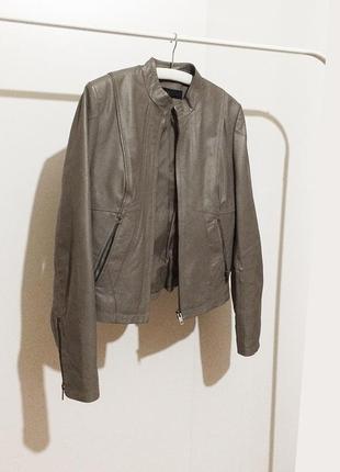 Кожаная серая куртка next натуральная кожа