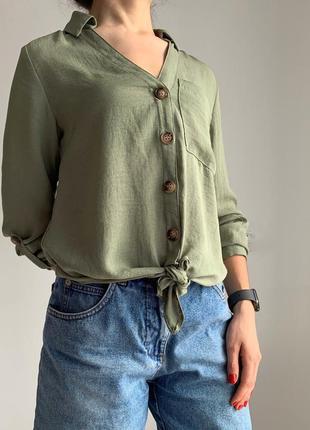 Блуза хаки, зелена блуза, жіноча блуза, летняя блуза, легкая блуза.