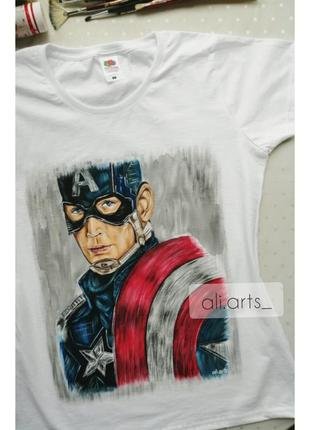 Крутая футболка с росписью красками капитан америка марвел рисунок не принт