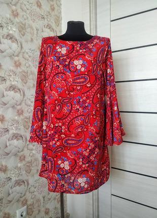 Роскошное красное платье на подкладке papaya, размер 14