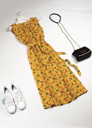 Стильное летнее платье миди под пояс m l