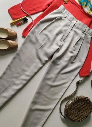 Зауженные шерстяные ❤️ брюки с защипами, высокая талия, винтажные чинос бананы, тонкие