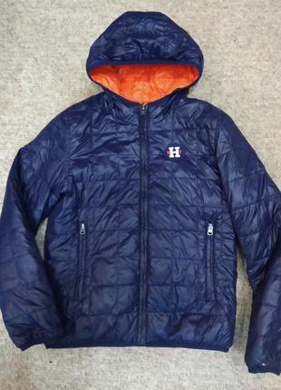 Двухсторонняя куртка пуховик tommy hilfiger 13-15л.