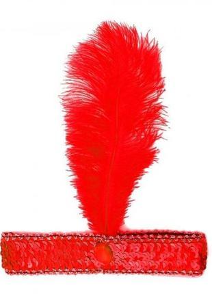 Красная повязка с пером и пайетками в стиле чикаго