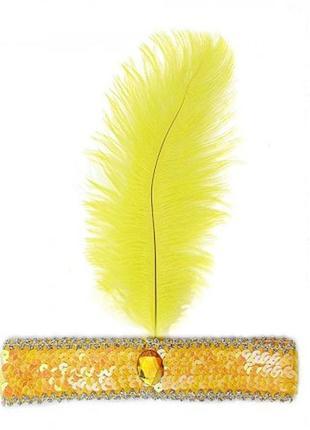 Золотая повязка с желтым пером в стиле чикаго гангстеров