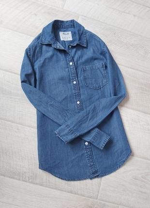 Джинсовая рубашка синий плотный деним