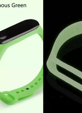 Ремешок люминесцентный зеленый на mi band 4