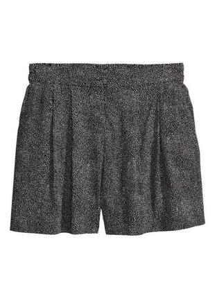 Легкие шорты чёрно-белые с принтом в точечку в горошек мини короткие