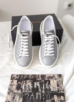Кеды сникерсы кроссовки серебряные серебро le silla 36 оригинал