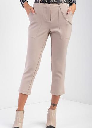 🔥скидки до 10.08🔥укороченные брюки классического кроя из костюмки кофейного цвета