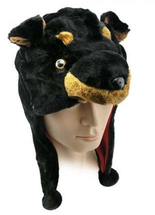 Шапка маскарадная собака черно-коричневая